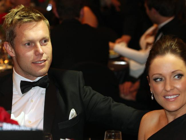Hawthorn's Sam Mitchell with his partner Lyndall at the 2012 Brownlow Medal count.