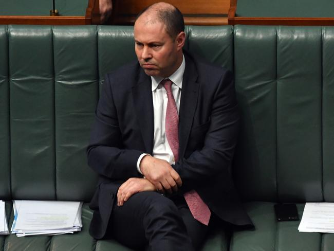 Treasurer Josh Frydenberg during Question Time in the House of Representatives at Parliament House. Picture: Getty Images