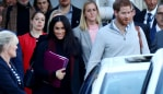 15/10/2018: Meghan Markle and Prince Harry arrive at Sydney International Airport on Monday morning. Hollie Adams/The Australian