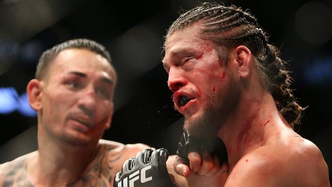 Max Holloway (L) presents a serious challenge for the talents of Volkanovski. Picture: Getty