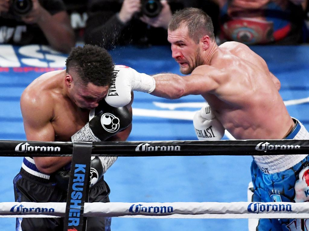 Sergey Kovalev and Andre Ward in the 11th round of their light heavyweight showdown in 2016.