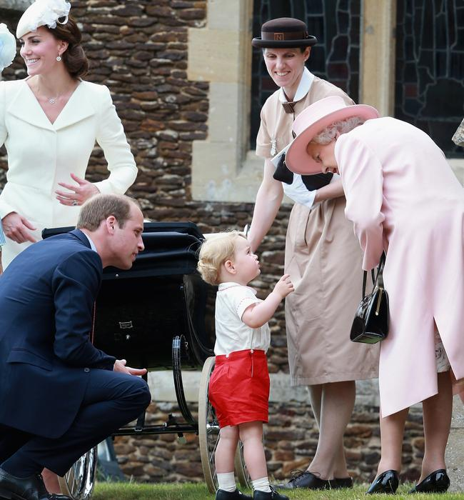 Prince George asks Queen Elizabeth a question as they leave Princess Charlotte's christening in 2015. Picture: Chris Jackson – WPA Pool / Getty Images
