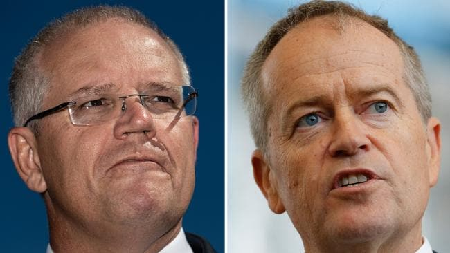 Prime Minister Scott Morrison and opposition leader Bill Shorten. Pictures: AAP