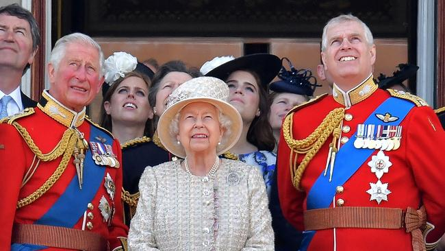 Prince Charles, Prince of Wales, Queen Elizabeth II and Prince Andrew, Duke of York. Picture: Daniel Leal-Olivas / AFP