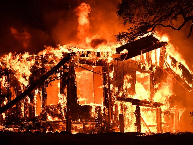 Flames ravage a home in the Napa wine region in California. Picture: AFP