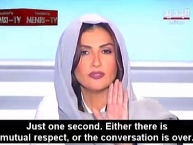 Making her point ... host Rima Karaki does not accept the cleric's point of view. Picture: YouTube
