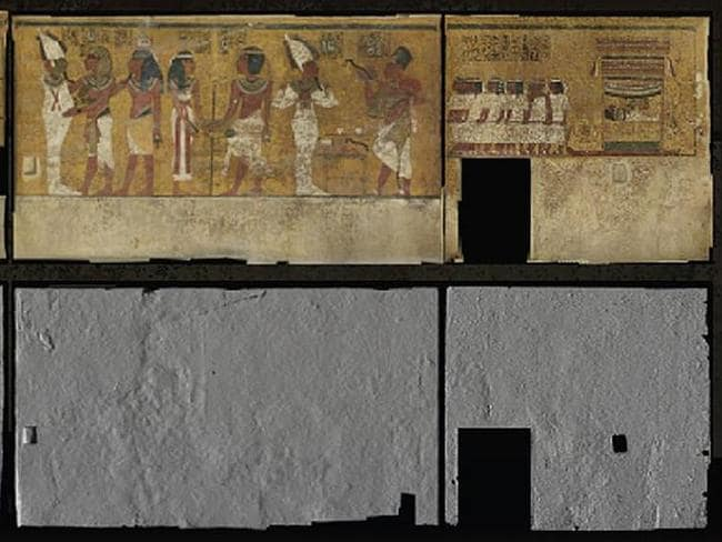 Details of the tomb's walls as extracted from high resolution photographs. Source: Nicholas Reeves