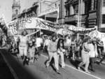 Anti-Vietnam War protesters march down King William St, 1972.