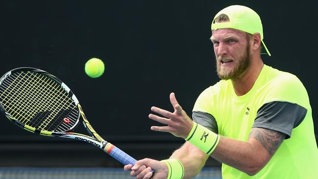 Sam Groth in action on Wednesday.