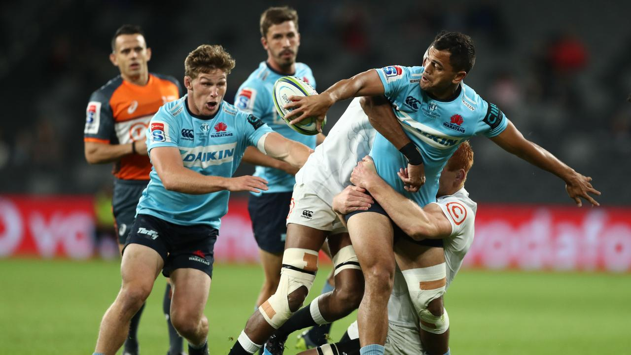 Karmichael Hunt will captain the Waratahs on Friday night in the absence of Michael Hooper (L).