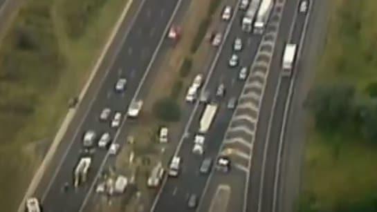 Crash on Hume Highway, Campbelltown: Jackknifed caravan