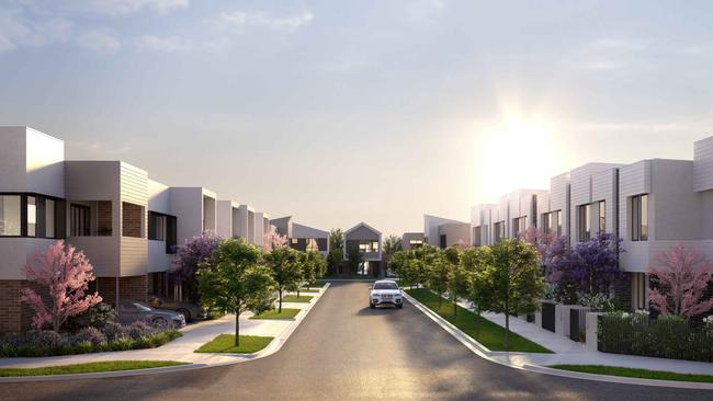 Artist's impression of a streetscape of townhouses at St.A estate by Cedar Woods in St Albans. For a story by Johanna Leggatt about townhouses, in the Herald Sun Realestate/Home Living section.