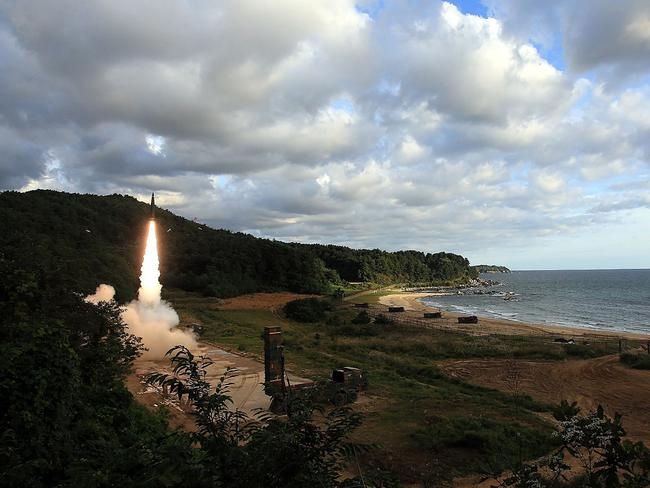 South Korea fires off its Hyunmu-2 missile into the East Sea during a live fire exercise earlier this month. Picture: South Korean Defence Ministry/AFP
