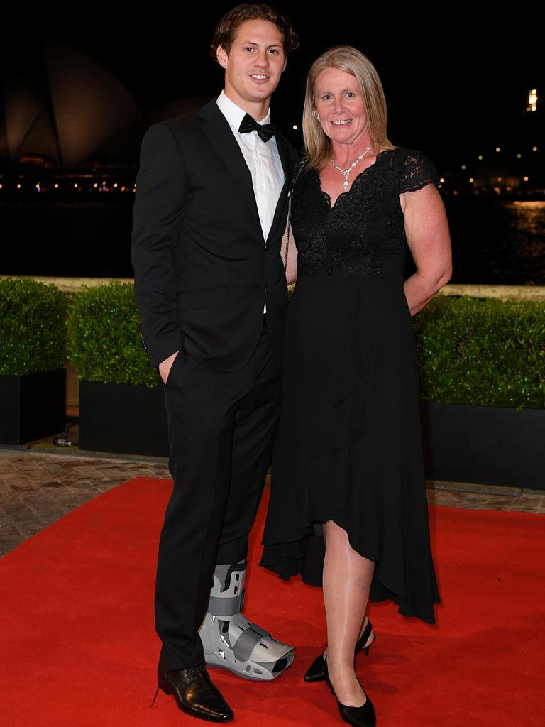 One of the Dally M favourites Kalyn Ponga arrived in a moon boot ... and with his mum!