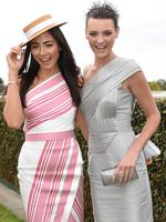 Models Jessica Gomes and Montana Cox. Picture: Tony Gough