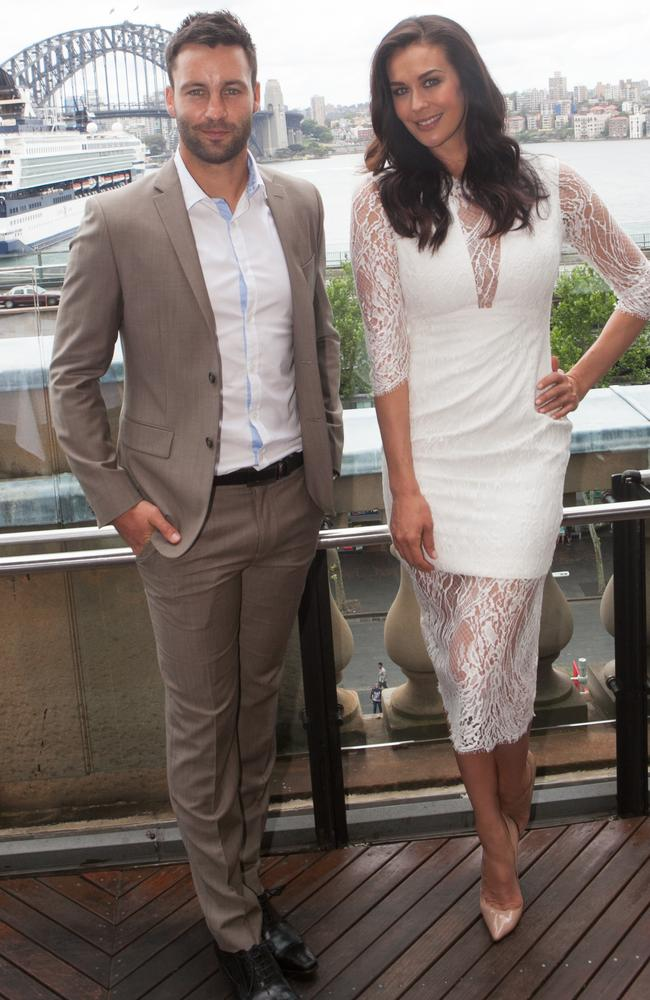 Jimmy Bartel and Megan Gale at the L'Oreal beauty launch for 2015 at Cafe Sydney Pic: Shane O'Neill