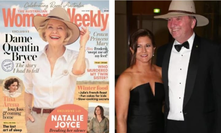 LEFT: Natalie Joyce's interview appears in the July 2018 edition of The Australian Women's Weekly. Source: Supplied RIGHT: The couple at the 2017 Federal Parliament Midwinter Ball 2017. Picture: Ray Strange Source: News Corp Australia