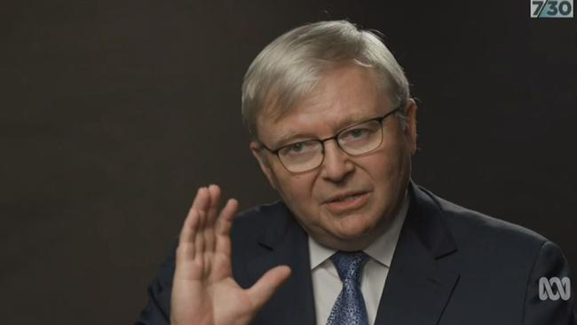 Kevin Rudd on ABC's 730 with host Leigh Sales.