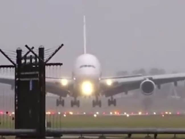 The Emirates Airbus A380 was hit by strong winds as it came into land. Picture: YouTube