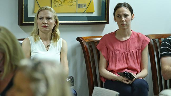 Clive Palmer's wife Anna, and daughter Emily, in a file picture from 2016 during a press conference at the Mineralogy headquarters in Brisbane. Picture: Lyndon Mechielsen/The Australian.