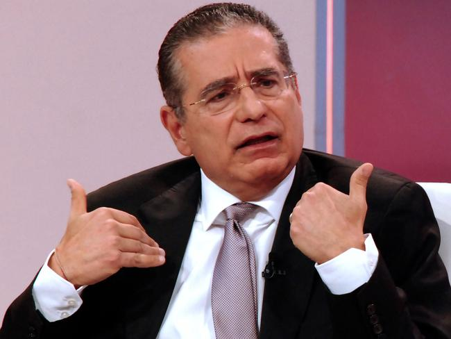 Ramon Fonseca, one of the founders of Panama's Mossack Fonseca law firm, gestures during a TV interview. Picture: AFP/Cortesia Telemetro.