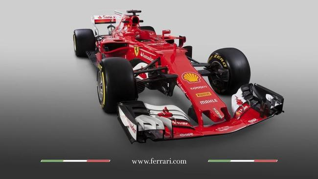 An angled view of the new Ferrari car.