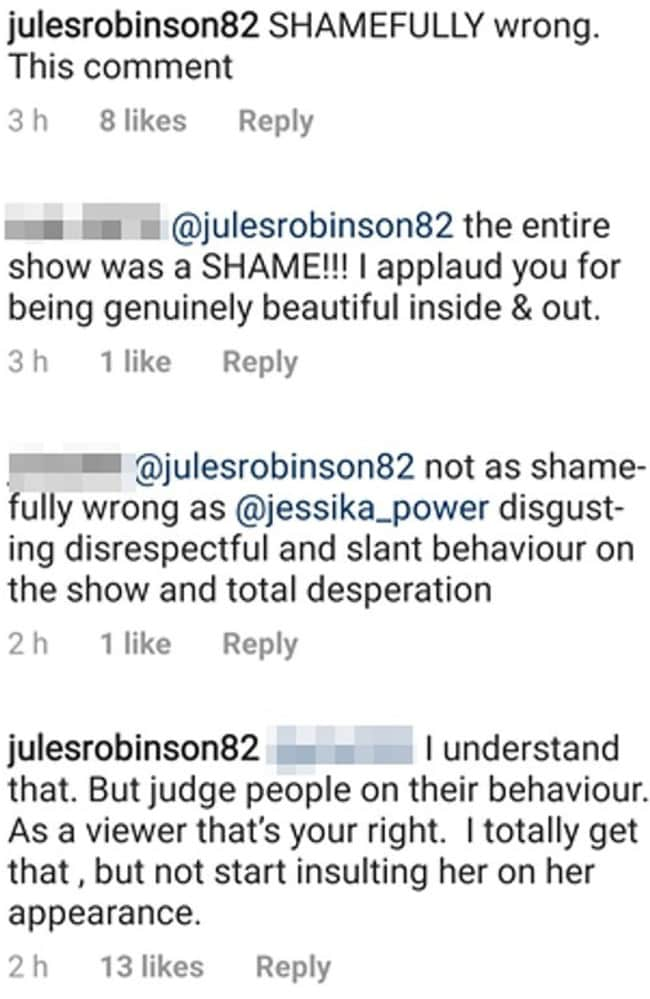 Jules Robinson and her co-stars jumped to Jessika's defence. Picture: Instagram
