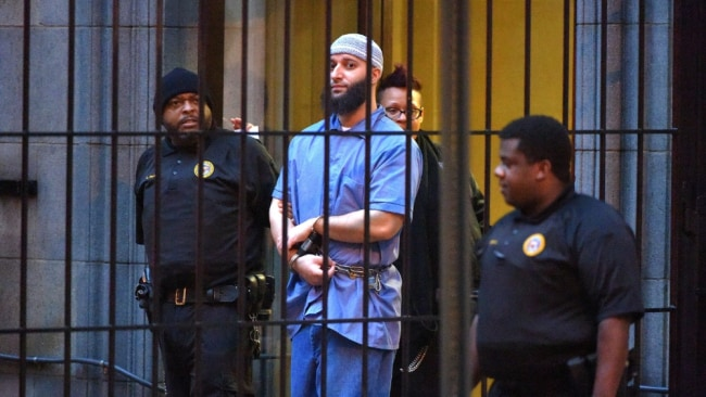 Syed is pictured being escorted from a Baltimore Court in Maryland, US. Image: Getty