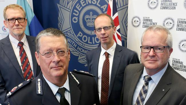 CCC Chairman Alan MacSporran, QPS Commissioner Ian Stewart, Australian Security and Investment Commission Deputy Chairman Peter Kell and Australian Criminal Intelligence Commission CEO Chris Dawson joined forces to warn of scammers just last month.