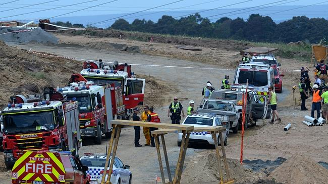 The contingent of emergency crews called initially to rescue a man down a three metre trench. Picture: Susan Windmiller
