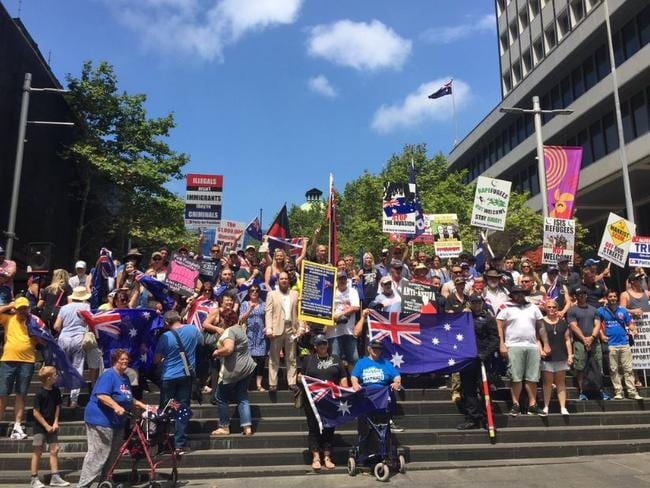 Reclaim Australia could only attract 50 protesters at its far right anti-Muslim rally which had a higher police presence. Picture: Serkan Ozturk.