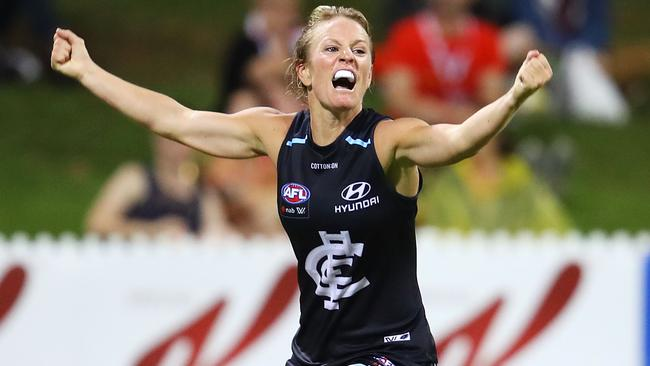 Katie Loynes celebrates a goal during the AFLW season.