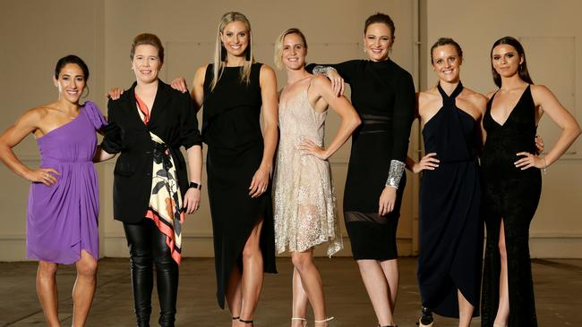 Lydia Lassila, Alex Blackwell, Laura Geitz, Bronte Campbell, Cate Campbell, Ellie Cole and Skye Nicolson at the Women's Health Women in Sport Awards. Picture: Jonathan Ng