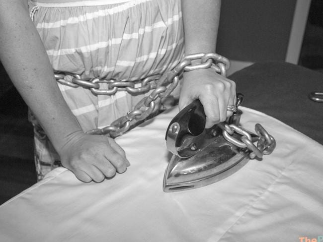 Chained to the iron ... images from the ad campaign by The Parenthood arguing that means testing childcare rebates will take Australia back to the 1950s.