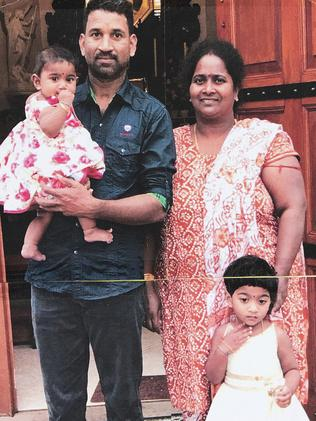 Priya and Nadesalingam and their two Australian-born children. Picture: AAP Image/Ellen Smith
