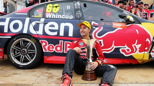 Jamie Whincup celebrating his seventh Supercars title after the Newcastle 500 last year. Picture: Tim Hunter