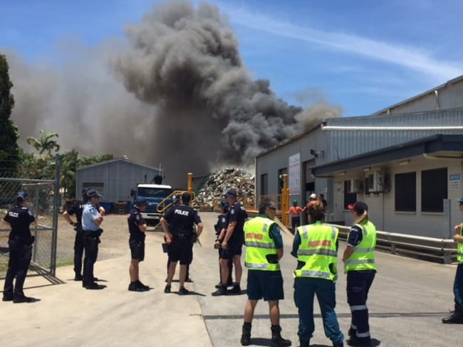 Police declare emergency after blast at Portsmith metal yard where large fire has broken out. PHOTO: ANNA ROGERS