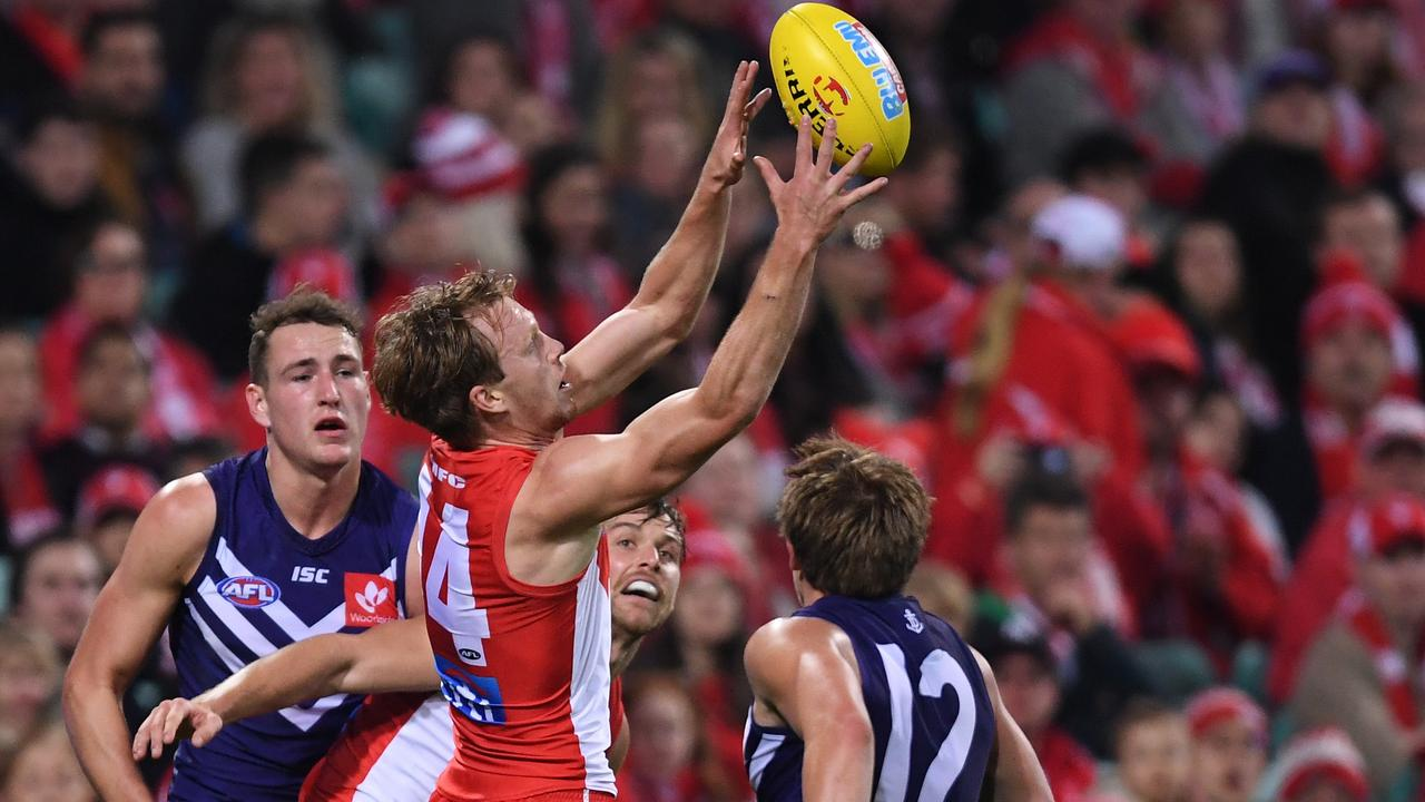 Callum Mills takes a mark against Fremantle in the last game he played before injuring his foot.