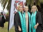 Kristen Burt, Roslyn Jensen and Carolyn Stanley at the UTAS Graduation at Launceston. PICTURE CHRIS KIDD