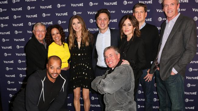 Ken Jenkins, Judy Reyes, Sarah Chalke, Zach Braff, Bill Lawrence, Christa Miller, Neil Flynn, Donald Faison and John C. McGinley at the Scrubs Reunion during the 2018 Vulture Festival.