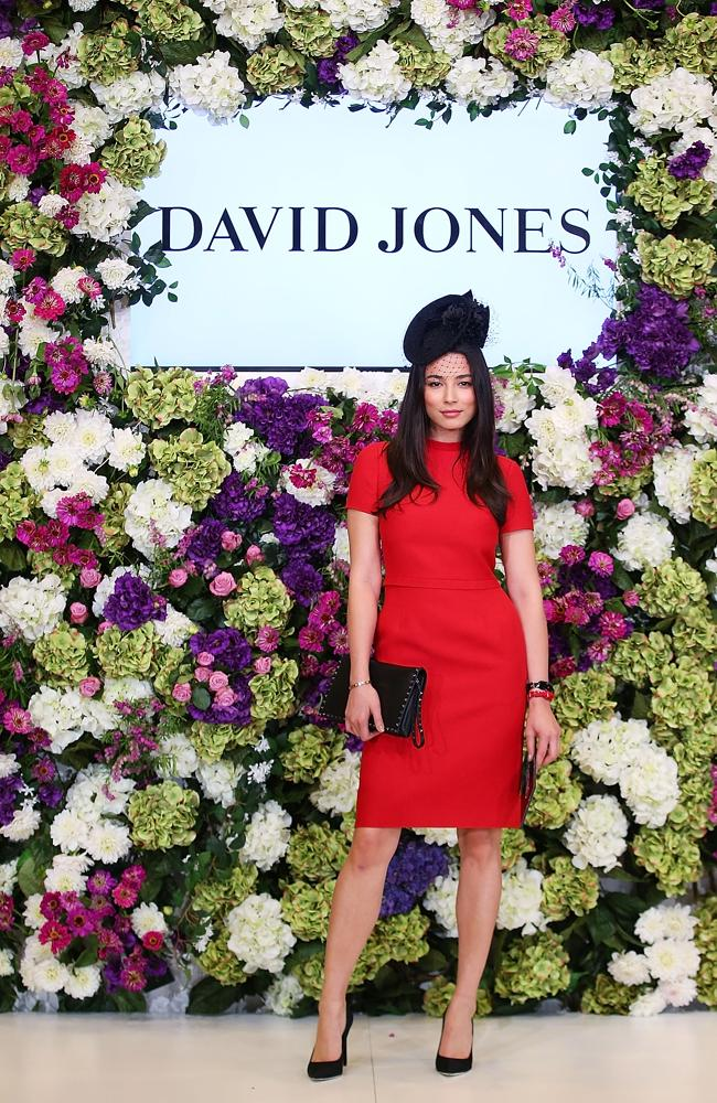 Jessica Gomes pictured in a Valentino design during the David Jones and Crown Resorts Autumn Racing Ladies Lunch.