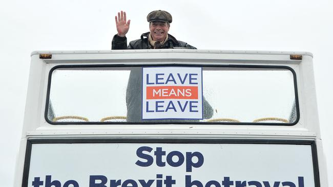 Former UK Independence Party leader and Brexit spearhead Nigel Farage poses on a pro-Brexit campaign bus before in Sunderland, northern England. Picture: Andy Buchanan/AFP.