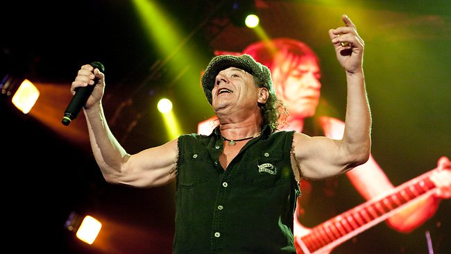 Singer Brian Johnson performs during the AC/DC concert at ANZ Stadium. Picture: Charles Brewer,