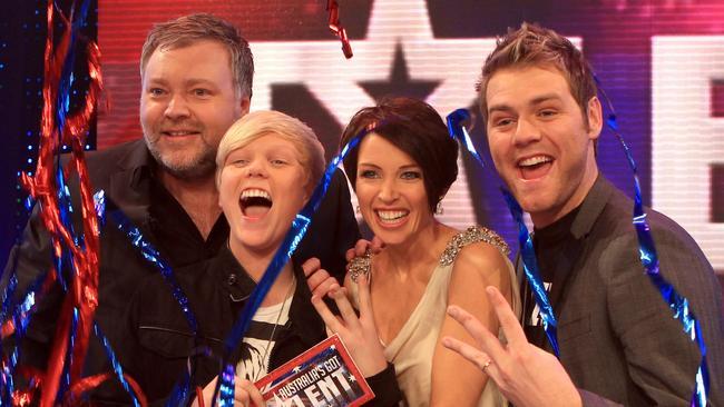 Australia's Got Talent final: Kyle Sandilands, Dannii Minogue and Brian McFadden with Jack Vidgen.