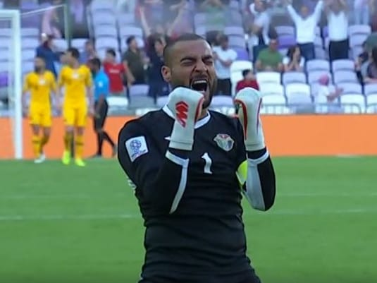 Jordan goalkeeper Amer Shafi thrilled with first goal.