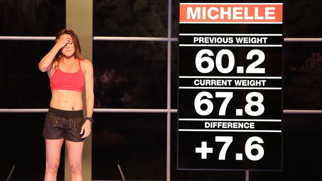 Michelle Bridges upon discovering she had gained 7.6kg in just one week.