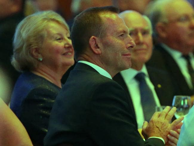Former PM Tony Abbott sits with John and Janette Howard at the dinner. Picture: Ray Strange