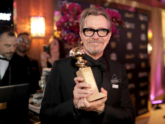 Actor Gary Oldman, winner of the award for Best Performance by an Actor in a Motion Picture (Drama) for 'Darkest Hour,' at The Golden Globe Awards. Picture: Getty