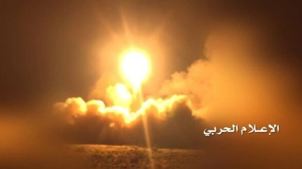 A Houthi TV station posted a photo of what it claimed was the rocket being launched. Picture: Al-Masirah TV
