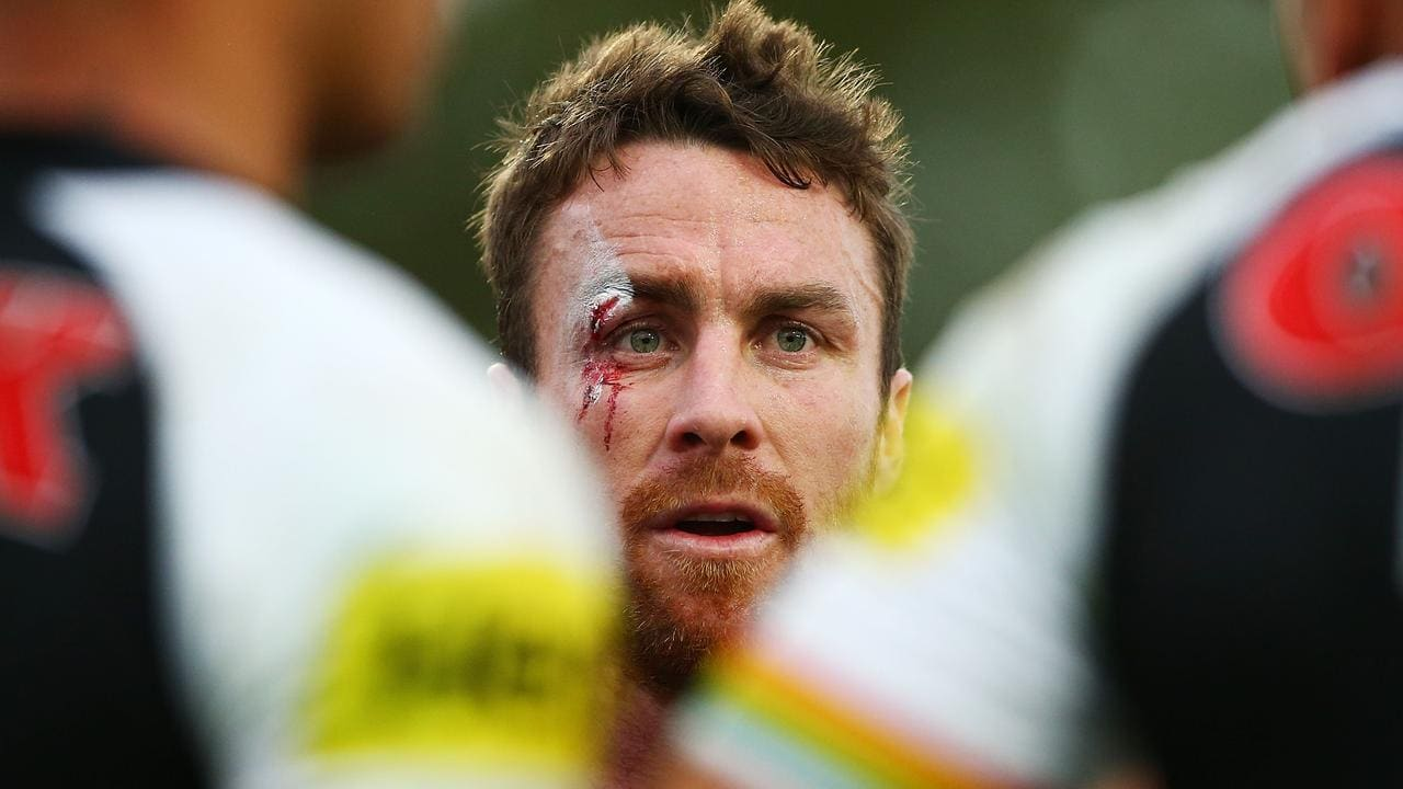 Battered and bruised: Panthers captain James Maloney.